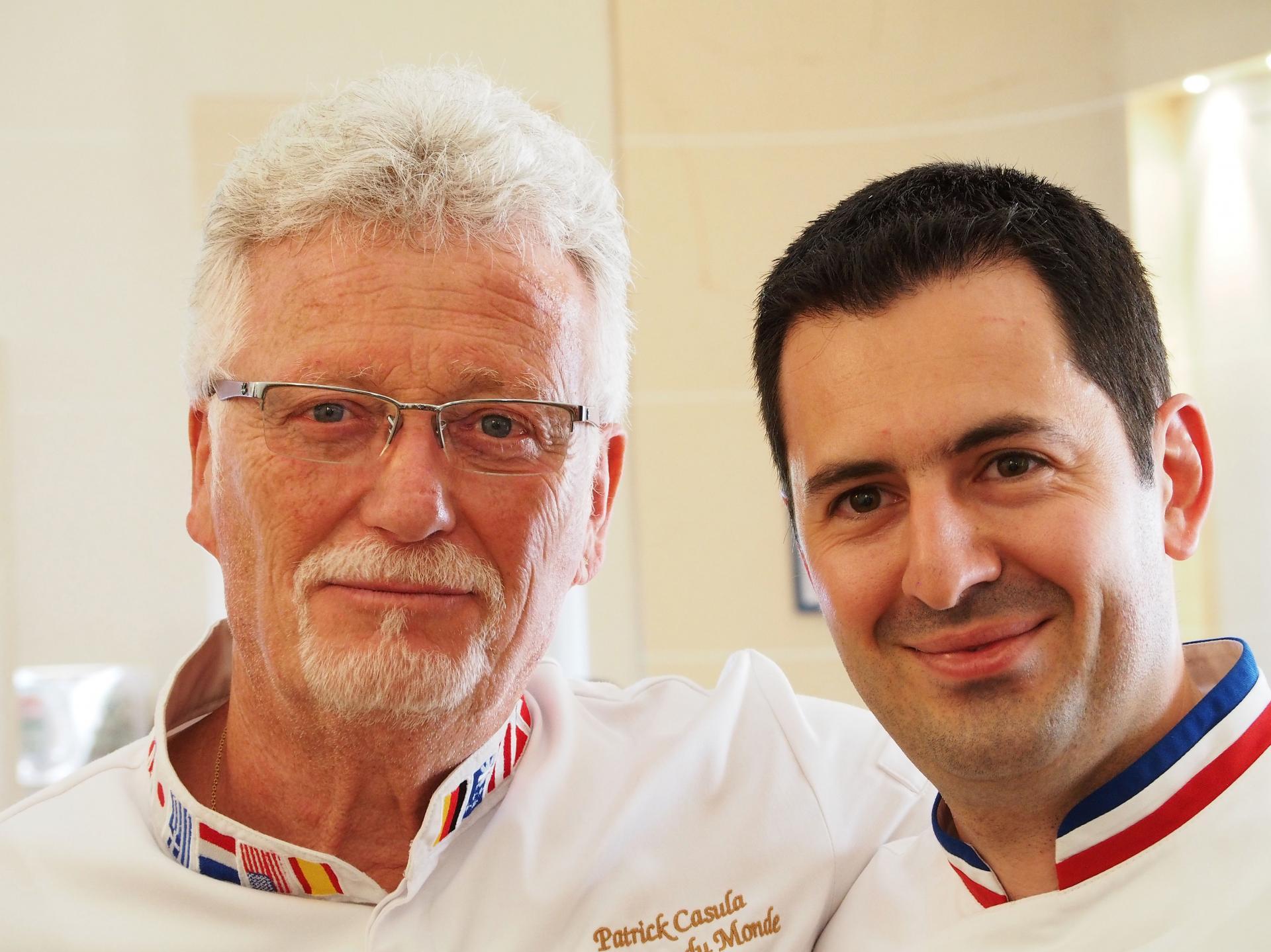 Patrick Casula, champion du Monde de pâtisserie et Julien Boutonnet, Meilleur Ouvrier de France